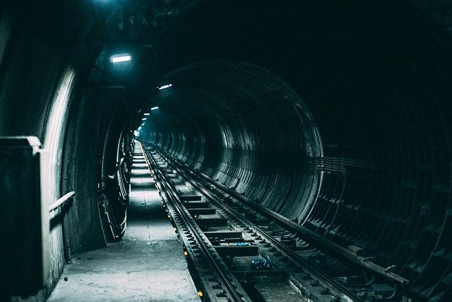 Dark, Lights, Railroad, Railway, Tunnel