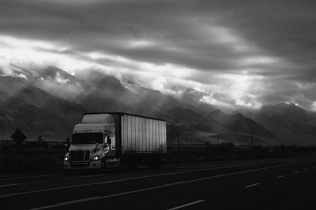 Cloudy, Dark, Highway, Mountain, Road, Truck, Vehicle