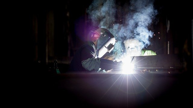 Welding, Dark, Light, Masks, People, Smoke, Spark