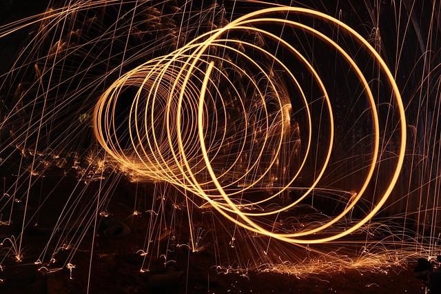 Steel Wool, Dark, Firespin, Spiral, Art, Sparks, Lights