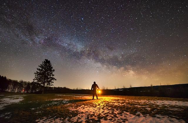 Milky Way, Night, Stars, Person, Man, Alone, Fear, Dark