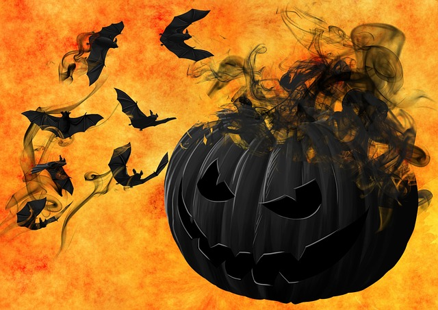 Pumpkin, Bats, Night, Creepy, Darkness, Mystical