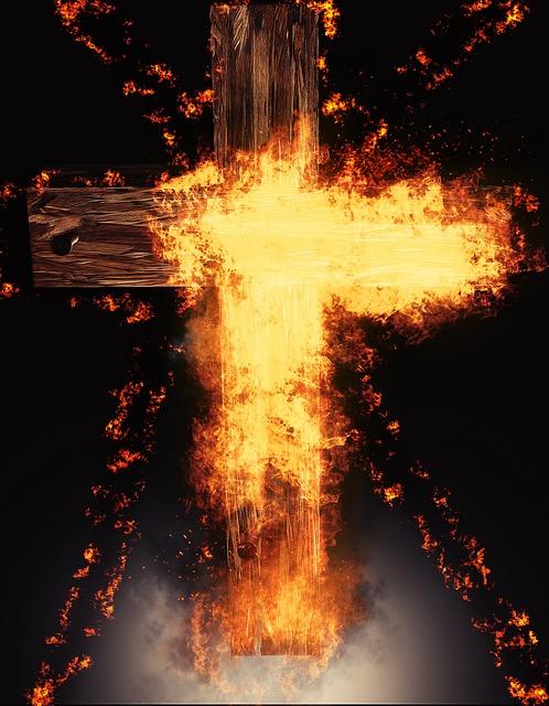 Flare-up, Heat, Smoke, Hot, Flammable, Cross, Darkness