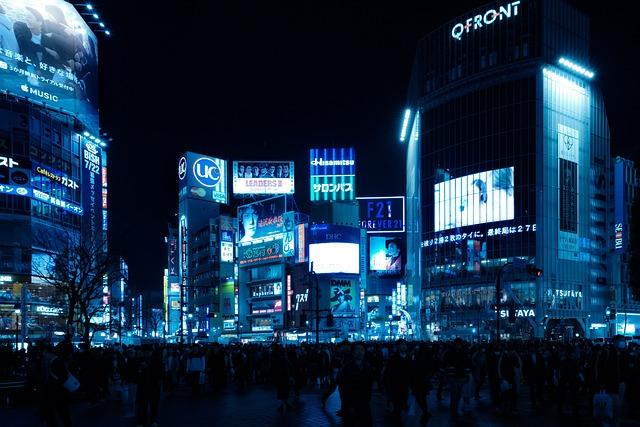 Shibuya, Intersection, Skyline, Night, Darkness