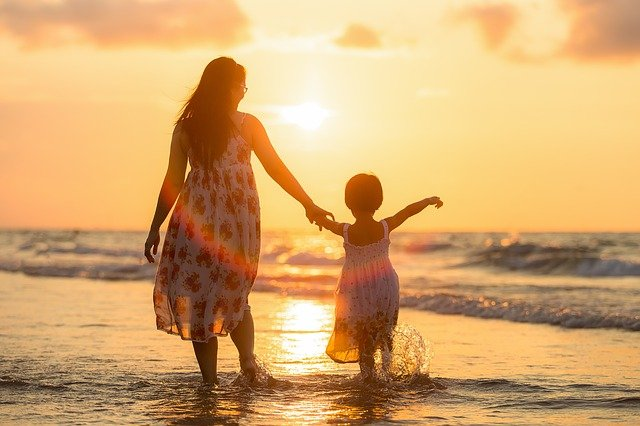 Adult, Mother, Daughter, Beach, Kids, Children, Evening