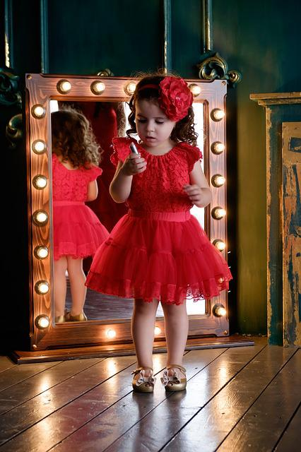 Mirror, Pomade, Baby, Daughter, Girl, Bow
