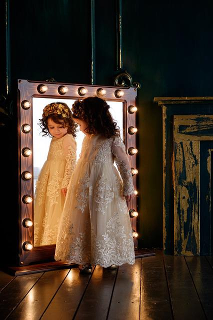 Mirror, Baby, Girl, Daughter, Dress, Reflection
