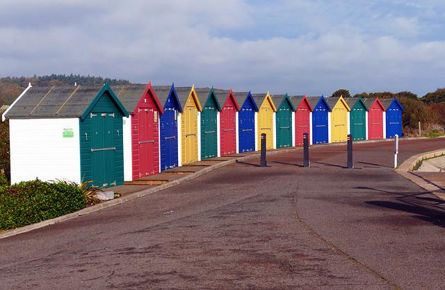 Beach Huts, Dawlish Warren, Devon, Beach, Coast