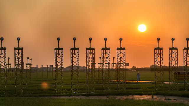 Sunset, Industry, Pollution, Sky, Dawn, Airport, Track