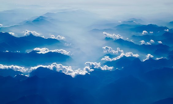 Mountains, Sunrise, Dawn, Beautiful, Fog, Haze, Sky