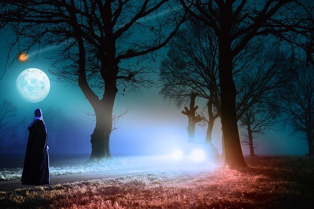 Dawn, Trees, Road, Car, Night, Full Moon, Woman, Light