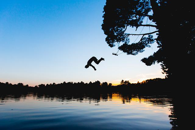 Dawn, Dusk, Jumping, Lake, Outdoors, Person, River
