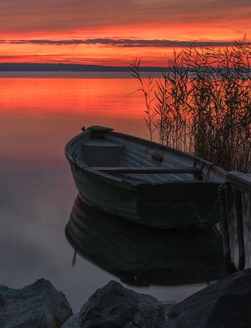 Boat, Sunset, Dawn, Nature, Waterfront, Travel, Light