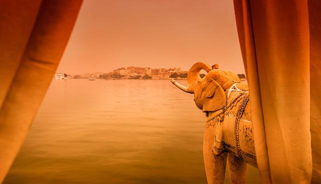 Jag Mandir, India, Moated Castle, Elephant, Dawn