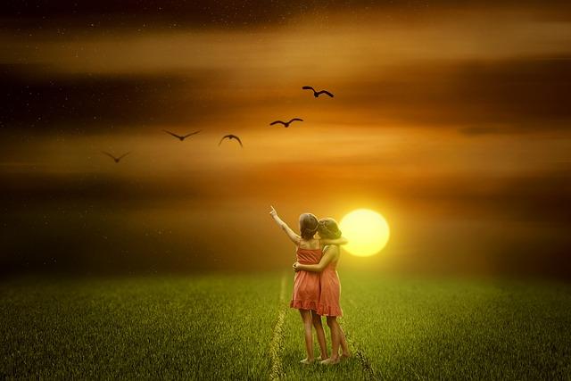 Sunset, Nature, Sun, Field, Dawn, Twins, People, Girl