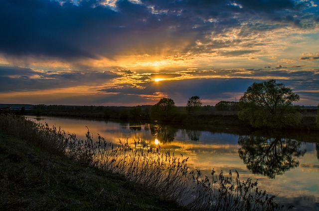 Sunset, Nature, Water, Dawn, Twilight, Panoramic, Sky