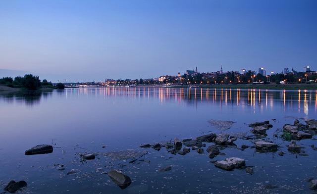 Warsaw, Wisla, Water, River, City, Dawn, Dark