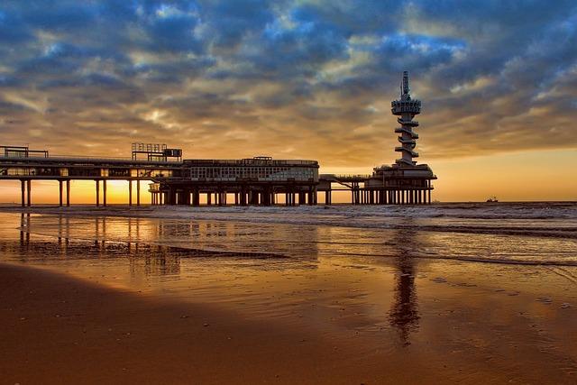 Pier, Sea, Sunrise, Sunset, Dawn, Dusk, Coast, Shore