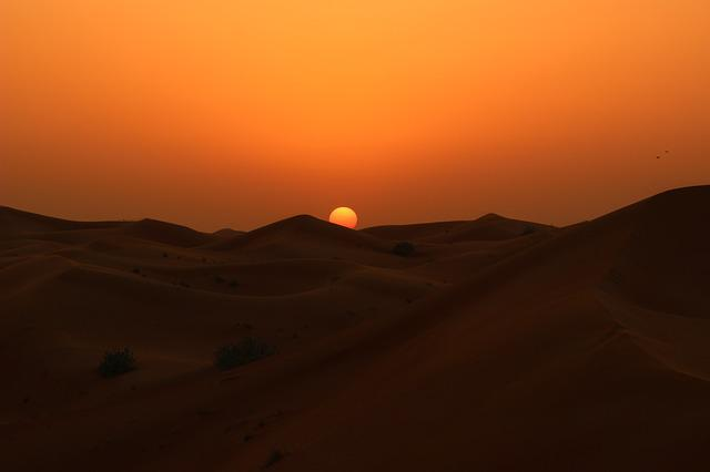 Sunset, Desert, Dawn, Evening, No Person