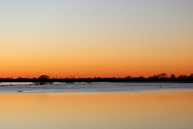 Sunset, Dawn, Waters, Dusk, Evening, Weser, Bremen