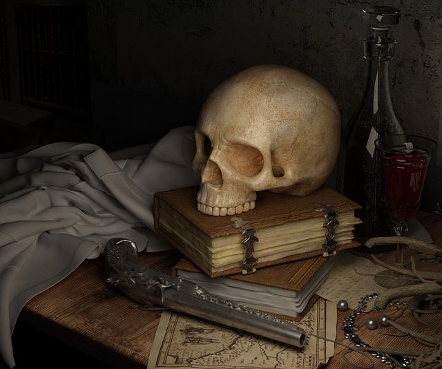 Skull, Dark, Pirate, Book, Gun, Death, Dead, Historic