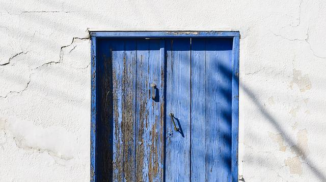 Door, Wooden, Blue, Old, Aged, Weathered, Decay