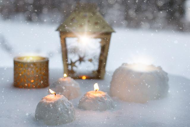 Winter, Candles, Snowballs, Christmas, December