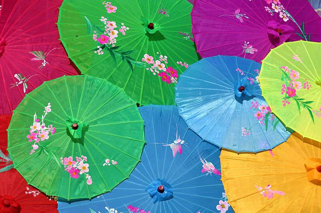 Chinese Umbrellas, Screens, Colorful, Decorated