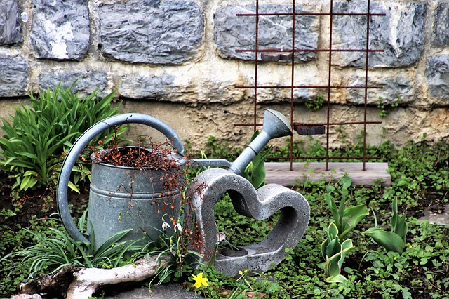 Heart, Decoration, Garden, Watering Can, Stone, Nature
