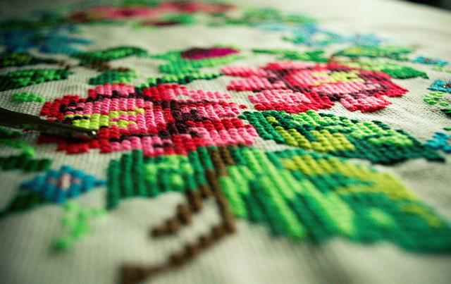 Embroidery, Flowers, Handmade, Linen, Decoration