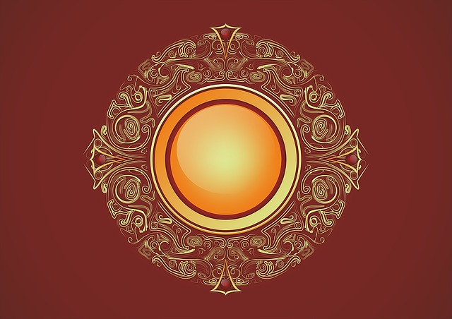 Badge, Gilding, Sun, Red, Oriental, Decoration
