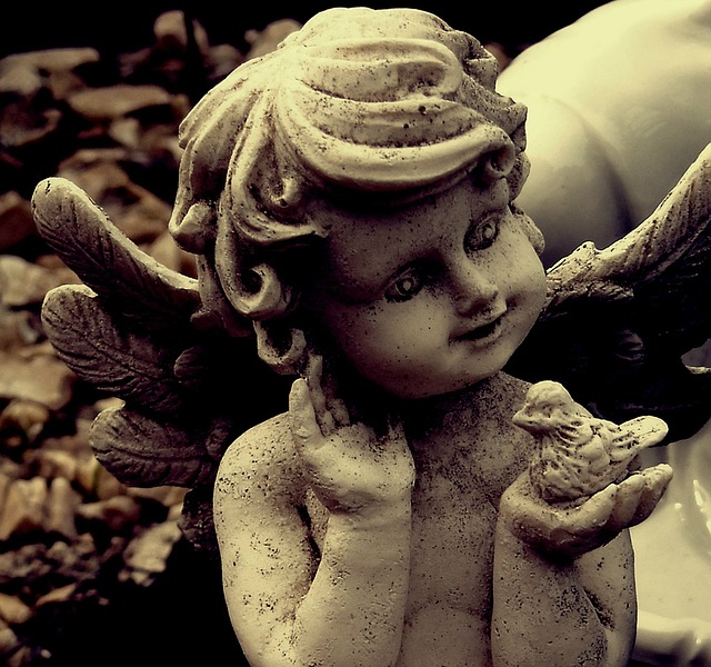Angel, Stone Statue, Cute, Sweet, Decoration, Wings