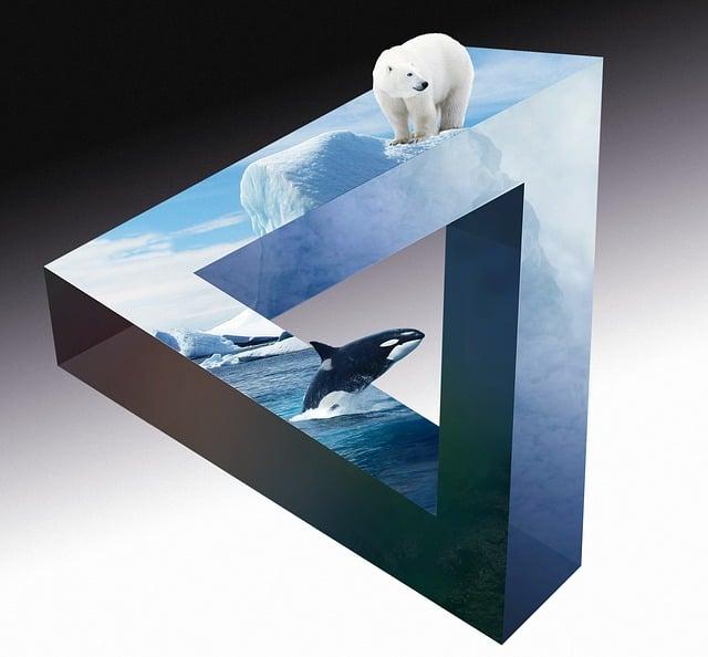 Polar Bear, Wal, Orca, Icebergs, Clouds, Deep Sea