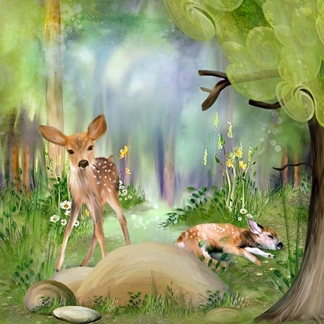 Deer, Forest, Art, Wild, Young Deer, Cute
