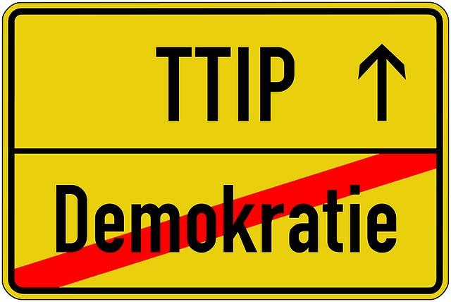 Ttip, Demokratie, Demoschild, Protest