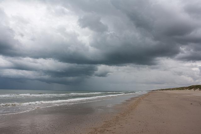 Denmark, Jutland, Beach, Sea, Dark Clouds