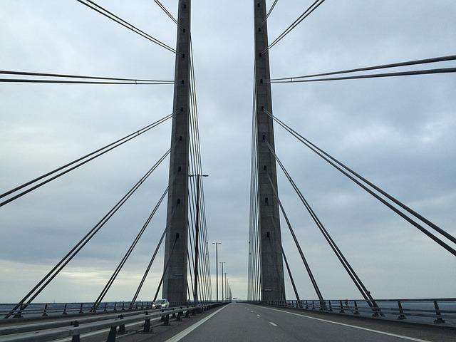 The öresund Bridge, Bro, Road, Sweeden, Denmark