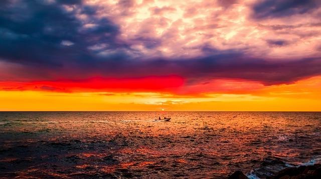 Denmark, Sunset, Dusk, Sky, Clouds, Sea, Ocean, Water