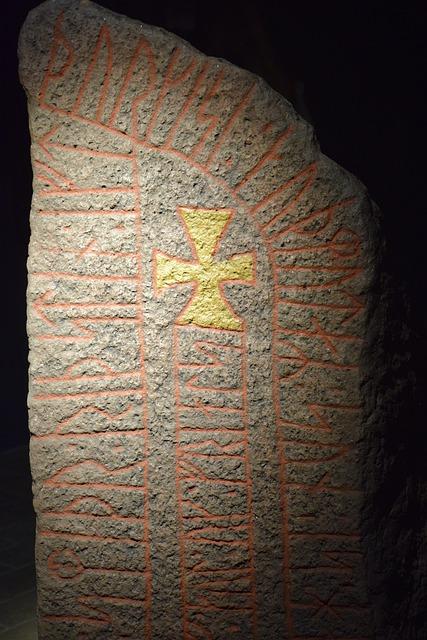 Rune, Stone, Stele, Danish, Denmark, Arhus, Symbole