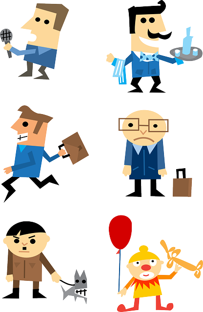 Businessman, Characters, Clown, Depressed, Happy