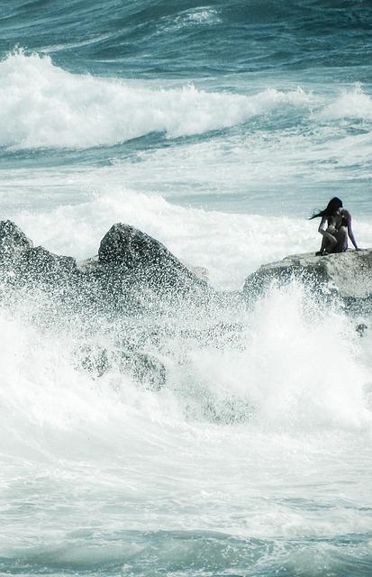 Waves, Alone, Solitude, Depression, Girl, Sea, Woman