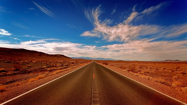 Landscape, Highland, Desert, Blue, Sky, Clouds, Road