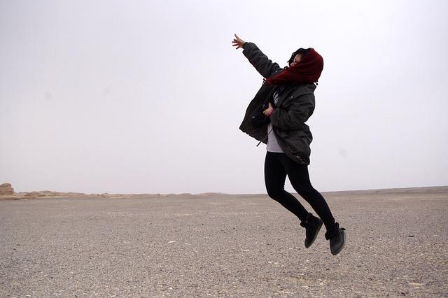 Tourism, Dunhuang, Desert, M, The Scenery, Jumping