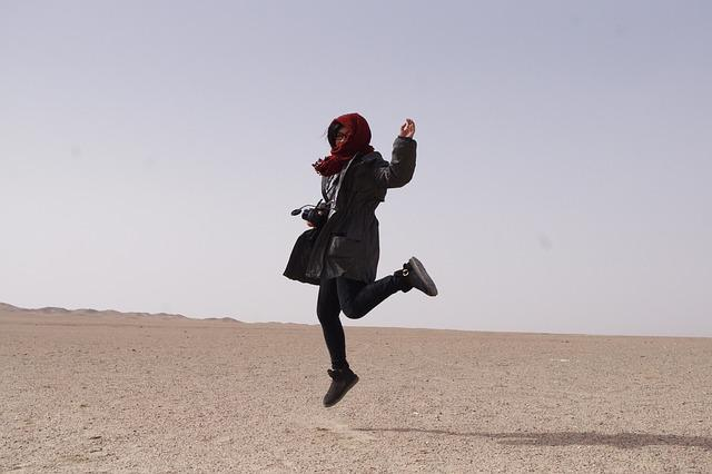 Tourism, Happy, Jumping, Dunhuang, Desert, China