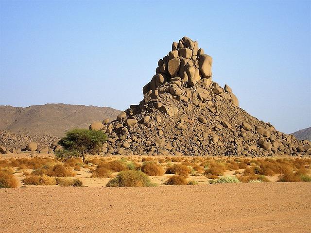 Algeria, Desert, Cairn, Mountain