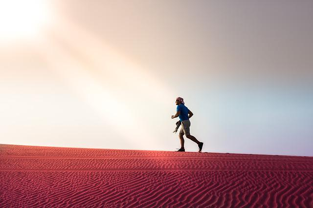 Desert, Run, Abu Dhabi, Sun, Nature, Young, Sand