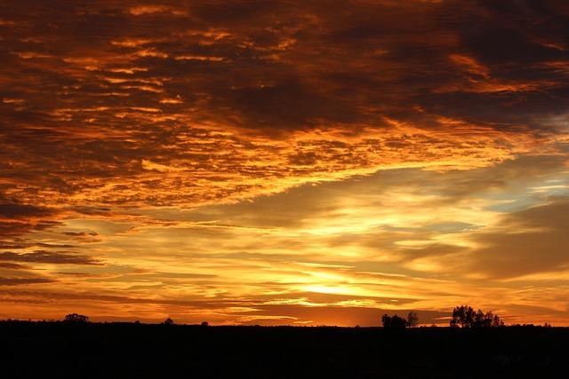 Sunrise, Sky, Desert, Outback