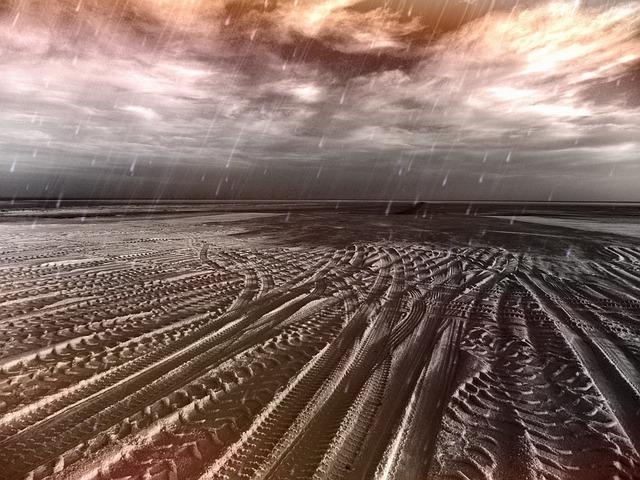 Desert, Desert Landscape, Tire Tracks, Lanes