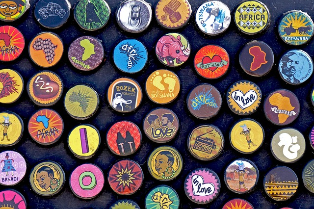 Botswana, Africa, Bottle Caps, Badges, Design, Magnets
