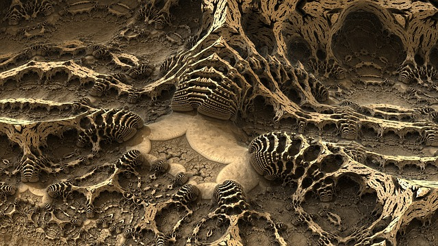 Fractal, Bones, Cave, Fossil, Render, 3d, Design